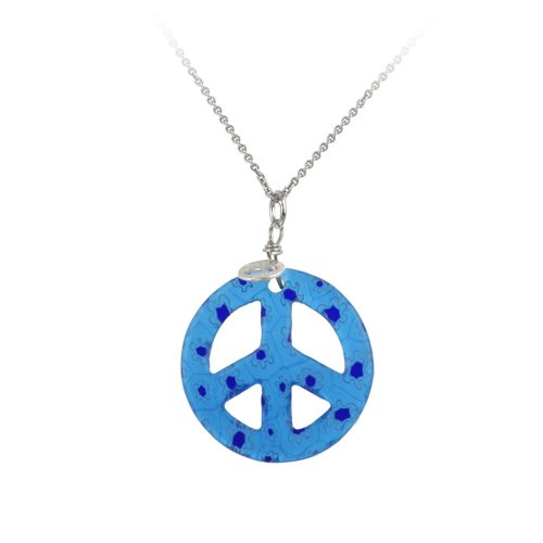 Sterling Silver Rolo Chain with Hand -Blown Light Blue Glass Peace-Sign Pendant Necklace , 18