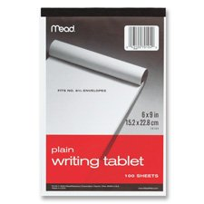 """Mead 70102 6"""" x 9"""" 100-Sheet White Ruled Writing Tablet Note"""