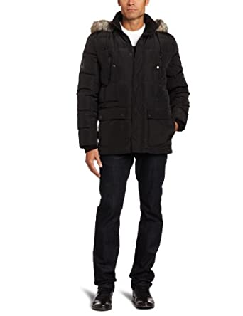 Kenneth Cole Men's Down Parka Outerwear, Black, Small