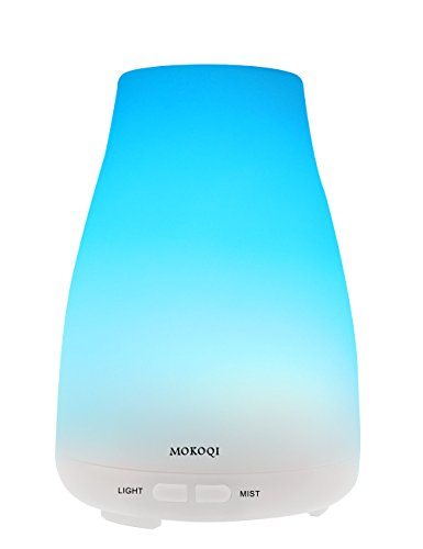 MOKOQI Essential Oil Diffuser Vaporizer,Aromatherapy Ultrasonic Cool Mist Humidifier 100ml with 7 Color LED Lights Changing and Waterless Auto Shut-off Fuction,BPA Free for Home Office Bedroom Room (Electronic Vaporizer For Oils compare prices)
