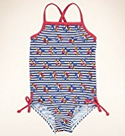 Square Neck Striped & Floral Swimsuit