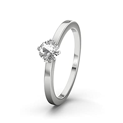 21DIAMONDS Women's Ring Grand Canyon White Topaz Diamond Engagement Ring - Silver Engagement Ring