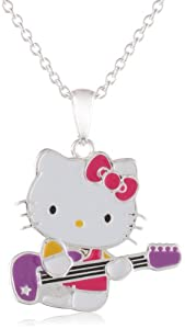 Hello Kitty Fine Silver Plated Rockstar Guitar Enamel Pendant Enhancer