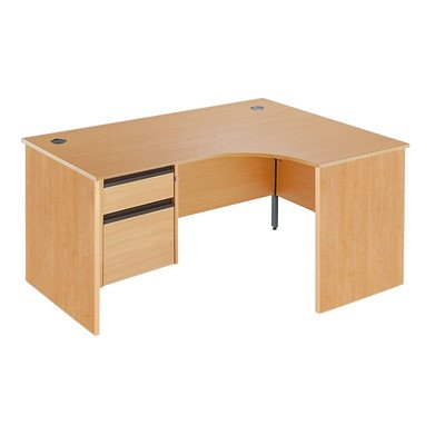 Maestro Ergonomic Desk with 2 Drawer Fixed Pedestal Finish: Beech, Drawers: 2, Orientation: Right