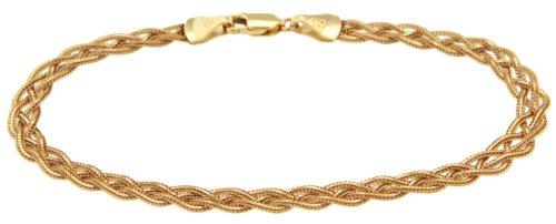 9ct Yellow Gold 4 Plait Foxtail Bracelet 7 Inch