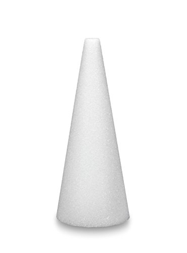 FloraCraft Packaged Styrofoam Cones, 12-Inch-by-4-Inch Cone, White
