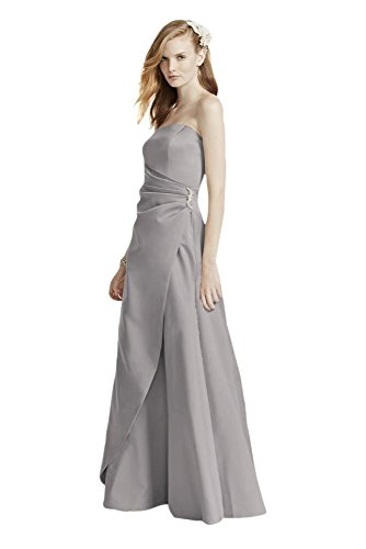 Satin Bridesmaid Dress with Side Drape & Brooch Style 8567, Mercury, 14