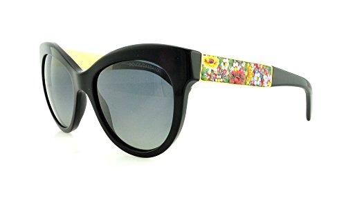 D&G Dolce & Gabbana Women'S Mosaico Collection Polarized Round Sunglasses, Black & Polarized Grey Gradient, 53 Mm