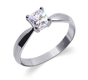 BDRS001-7 Sterling Silver Womens Band Princess Cut Cubic Zirconia Solitaire Ring Size 7