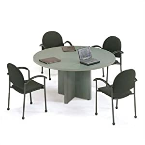 "42"" Diameter Bull Nose Round Top Gathering Table with X-Base Top Color: Khaki, Edge Color: Slate Grey, Base Color: Khaki"