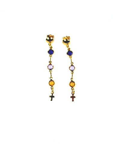18Kt Gold Layered Colored Bead Cross Dangle Earrings
