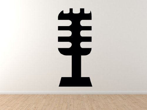 "Music Icon - Microphone #2 Audio Recording Podcast Art - 45"" Black Wall Vinyl Decal Decorative"