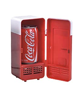 Mini USB-Powered Fridge Cooler for Beverage Drink Cans in Cubicle and Home office (Red) mini usb refrigerator from Traitonline
