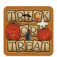 Trick or Treat Halloween Set of 4 Coasters Angela Anderson Legacy