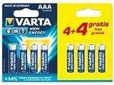 8 X Varta AAA High Energy Alkaline Batteries LR03 MN2400 1.5V 2017