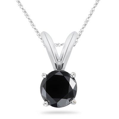Black Diamond Solitaire Pendant in Platinum