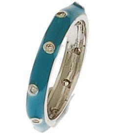 Brass Rhodium Overlay Turquoise Enamel Ring With Circle CZ Stones!