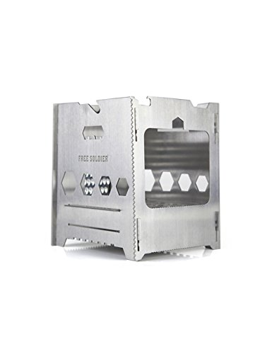 FREE SOLDIER Outdoor Multifunction Portable Camping Stove Lightweight BBQ Folding Firewood Stove (Silver) (Miniature Wood Burning Stove compare prices)