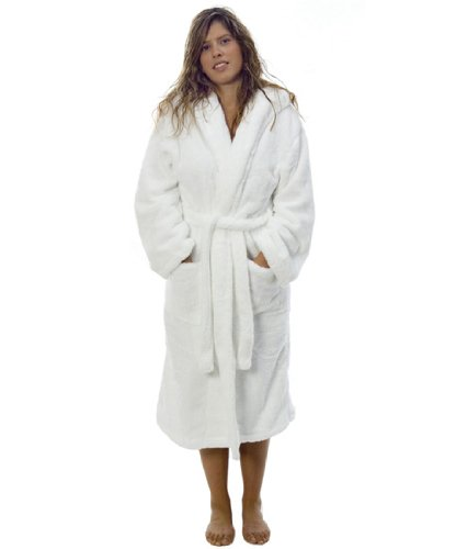 Super Soft Fleece Bathrobe / Dressing Gown, Large / Extra Large Size 12 White