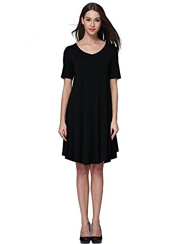 MsBasic Women's Knee Length Loose Fit Classy Flared T-Shirt Tunic Dress X-Large Black