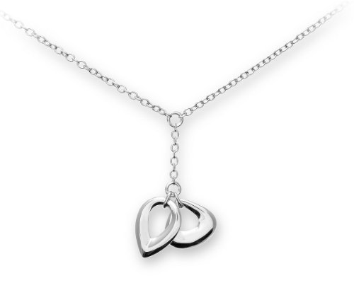 Silver and Diamond Open Drop 46cm Necklet
