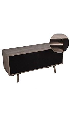 DREAM LOFT - Meuble TV bois clair et noir 2 portes Boston