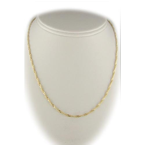 Antique Gold Plated Sterling Silver Singapore Nickel Free Chain Necklace, 16 Inch