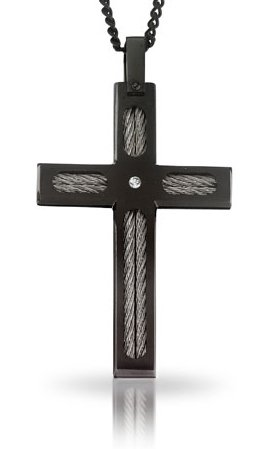 STEL Black Ion Stainless Steel Diamond Cross Pendant Complete with 24
