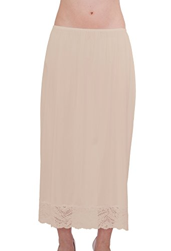 Under Moments Maxi, Half Slip Vintage Style 32″ with All Around Lace (NUD, M)