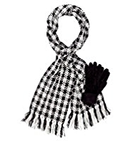 Per Una Large Checked Scarf & Knitted Gloves Set