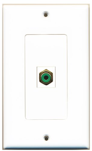 Riteav - 1 Rca Green For Subwoofer / Audio Port Wall Plate Decorative White