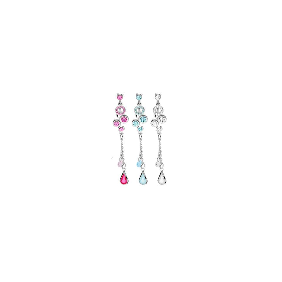 Reversed belly ring with dangling jeweled gems, chain and teardrop, aquamarine