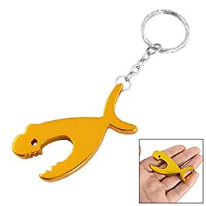 dolphin pendant key chain beer bottle opener gold tone kitchen dining. Black Bedroom Furniture Sets. Home Design Ideas