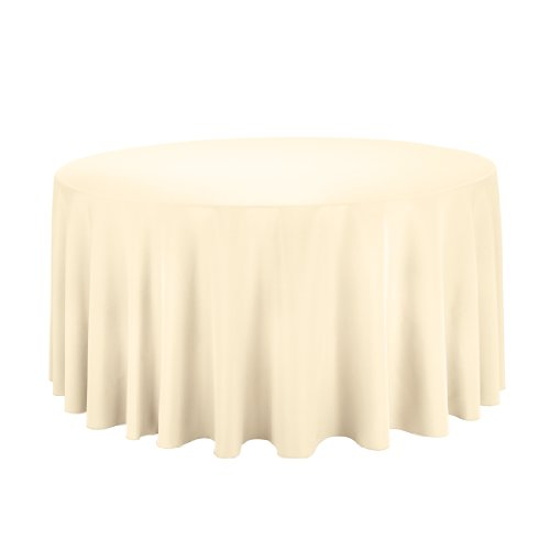 Linentablecloth Round Polyester Tablecloth, 120-Inch, Butter front-457968