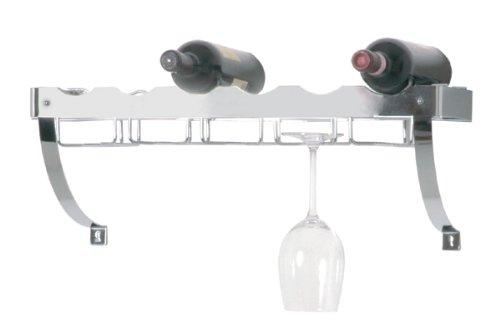 Haku Möbel 44263 Cantinetta mensola porta bottiglie e calici in tubo d'acciaio cromato