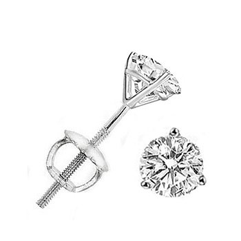 14K White Gold Round Three Prong Martini Diamond Stud Earrings ( 0.33 ct.tw, H-I Color, SI2-SI3 Clarity )