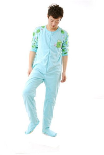 Fleece Cotton Adult Unisex Footed Pajamas Frog Sleepsuit Cosplay Pyjamas Size M front-834369