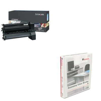 KITLEXC7702KSUNV20962 - Value Kit - Lexmark C7702KS Toner (LEXC7702KS) and Universal Round Ring Economy Vinyl View Binder (UNV20962) kitaapbr102gycox01761ea value kit best hospitality base cabinet aapbr102gy and clorox disinfecting wipes cox01761ea