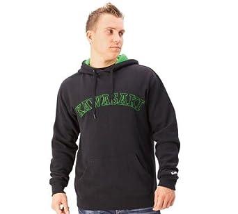 Kawasaki Varsity Hooded Embroidered Pullover Sweatshirt Black (Medium)
