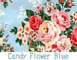 キャスキッドソン/Cath Kidston 柄 生地 【オイルクロス】ハーフサイズ70cm×50cm (Candy Flower Blue ブルー)