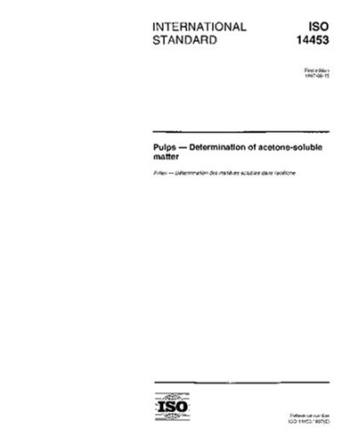 ISO 14453:1997, Pulps -- Determination of acetone-soluble matter PDF