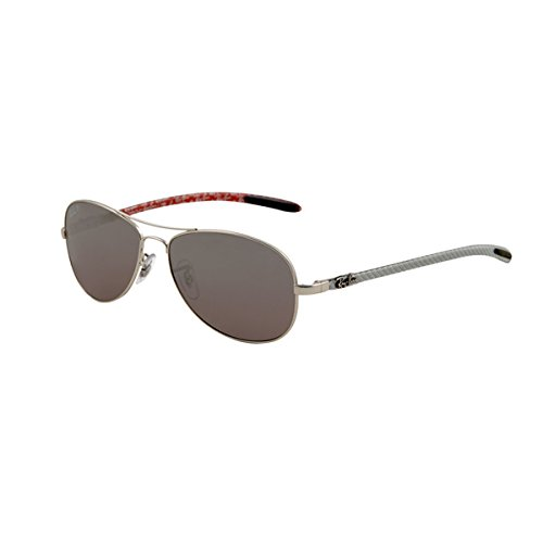 Ray-Ban Men's Rb8301 Oval Sunglasses,Matte Silver,59 mm