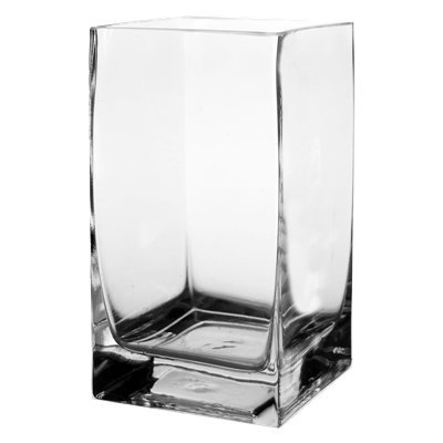 "CYS Glass Hand Blown Square Vase. H-6"", Open D-3.15"" x 3.15"""