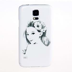 Kinston Sketch Flower Girl Pattern Plastic Hard Case for Samsung S5 I9600 in Multi Colour