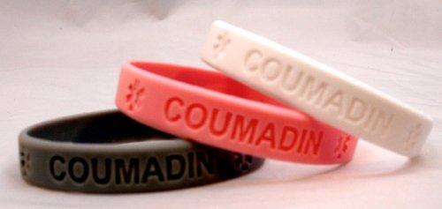 3-pack of Coumadin Medical Alert Silicone Bands Bracelets