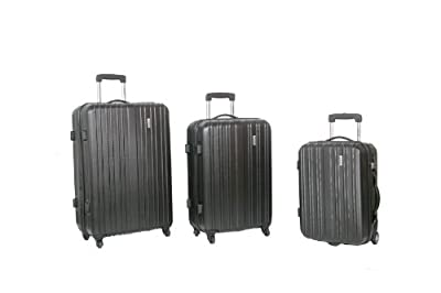 Sirocco Camouflage Set of 3 Hard Sided ABS Suitcases (Camouflage Grey)