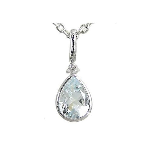 [アトラス] Atrus アクアマリン ペンダント ネックレス ダイヤモンド ダイヤ ホワイトゴールドK18 つゆ K18WG 3月誕生石