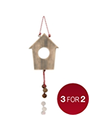 Wooden Birdhouse Christmas Tree Decoration