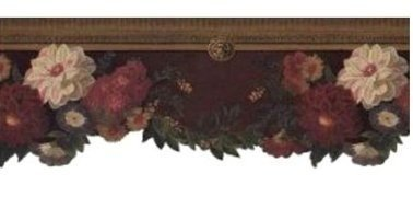 wallpaper-border-raymond-waites-floral-on-brown-cracle-with-gold-crown-molding-by-imperial-home