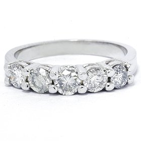 Womens Band .75ct Gorgeous 5 Stone Round Dimaond Wedding Ring 14K White Gold